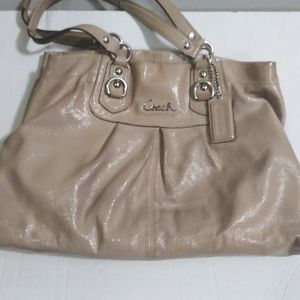 COACH - NUDE ASHLEY PATENT LEATHER PURSE SATCHEL